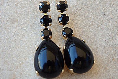 Black Onyx And Swarovski Earrings