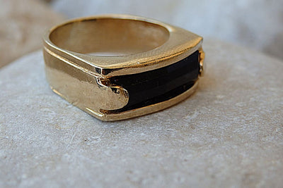 Black Onyx Square Band Ring