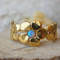 Blossom Ring. Blue Gemstone Ring. Dainty Gold Ring. Opal Flower Ring. Blue Opal Jewelry. Bridal Ring. Opal Art Deco Ring. Anniversary Gift