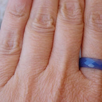 Blue Agate Band Ring. Agate Stone Band Ring