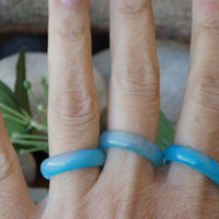 Blue Agate Banded Ring. Agate Stone Band Ring