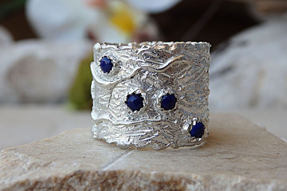 Blue Gemstone Ring. Lapis Lazuli Ring. Boho Ring. Genuine Stone Ring. Chunky Rings. Silver Ring. 4 Stones Mom Ring.family Ring.original Ring