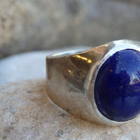 Blue Lapis Statement Mens Sterling Silver Ring
