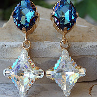 Blue Navy White Chandelier Earring