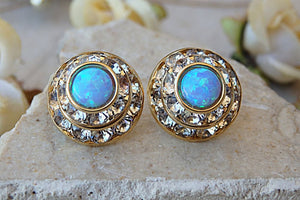 Blue Opal Earrings. Stud Earrings