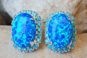 Blue Opal Earrings. Turquoise Opal Silver Earrings