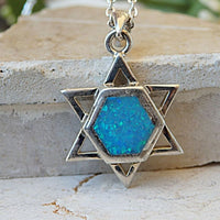 Blue Opal Star Of David Necklace. Blue Magen David Pendant