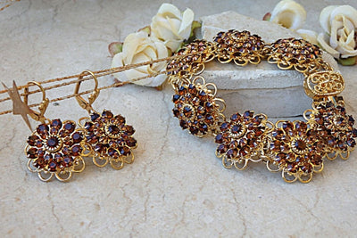 Bracelet Earring Set. Brown Jewelry Set. Jewelry Sets. Bridesmaid Gift Set. Flowers Jewelry. Bracelet And Earring. Brown And Gold. Wedding
