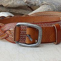 Braided Belt. Brown Leather Belt. Buckle Belt For Men Women. White Stitching Belt. Jeans Belt. Braid Belt. Cognac Color Leather Belt For Him