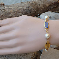 Bridal Colorful Bracelet. Swarovski White Pearl Bracelet. Pink Yellow Blue Bracelet. Beaded Pearl Bridesmaid Crystal Bracelet.wedding Gift