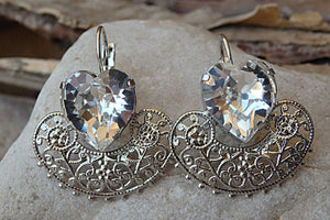Bridal Heart Shaped Earrings