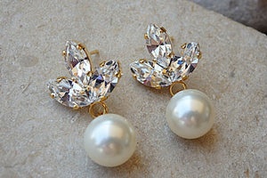 Bridal Pearl And Clear Swarovski Earrings