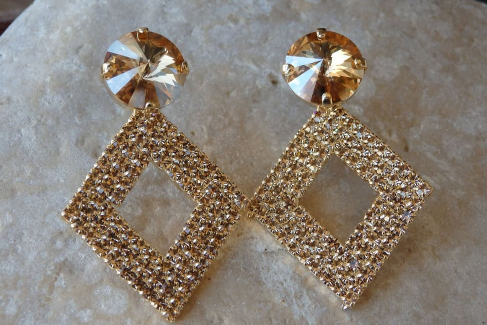 Bridal Rhombus Stud Earrings. Champagne Swarovski Clip On Post Earrings. Gold Crystal Earrings. Bridesmaid Earrings Gift. Geometric Earrings
