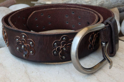 Brown Floral Leather Belt