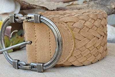 Brown Leather Belt. Boho Belt. Large Buckle Belt. Suede Leather Belt For Women. Cream Large Belt. Braided Belt. Twisted Belt.cowboy Belt .