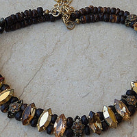 Brown Statement Necklace. Real Swarovski Jewelry. Tan Earthy Wooden Beaded Crystal Choker