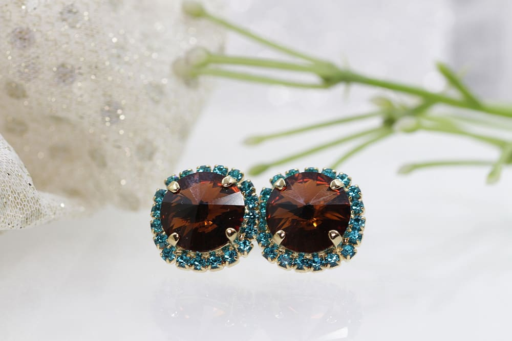 Brown Stud Earrings