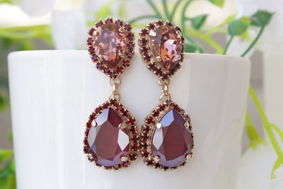 Burgundy Earring, garnet chandelier earrings, swarovski earrings, dangle earrings, pink red earrings, wedding dark red earrings