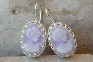 Cameo Earrings. Purple Women Earrings. Sterling Silver Earrings. Delicate Bridal Jewelry. Downton Abbey Inspired Earrings.victorian Earrings