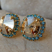 Champagne And Blue Stud Earrings