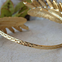 Champagne Bracelet. Gold Cuff Bracelet. Swarovski Bracelet. Bridesmaids Bracelet. Adjustable Cuff. Feather Cuff. Bridal Wedding Bracelet
