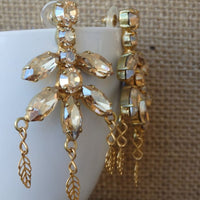 Champagne Halo Cluster Earrings
