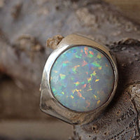 Chunky Opal Ring. 925 Sterling Silver Ring. White Opal Ring. Wide Opal Ring. Womens Rings. Fire Opal Big Ring. Sterling Silver Opal Ring