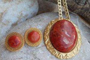 Coral Necklace Earring Set