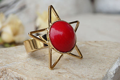 Coral Ring. Red Gemstone Ring. Gypsy Ring. Gold Gemstone Ring. Natural Coral Jewelry. Organic Ring. Rings For Her.all Sizes Ring. Stars Ring