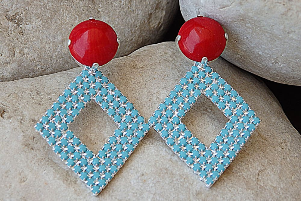 Coral Turquoise Earrings. Red Coral And Turquoise Swarovski Crystal Earrings. Silver Geometric Earrings. Turquoise Rhombus Stud Earrings