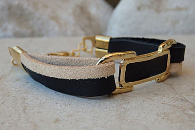 Cream And Black Leather Bracelet. Leather Bracelet With Gold Bar. Enamel Bar Bracelet. Gold Plated Leather Bracelet. Black & Cream Bracelet