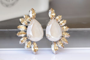 Cream Teardrop Earrings