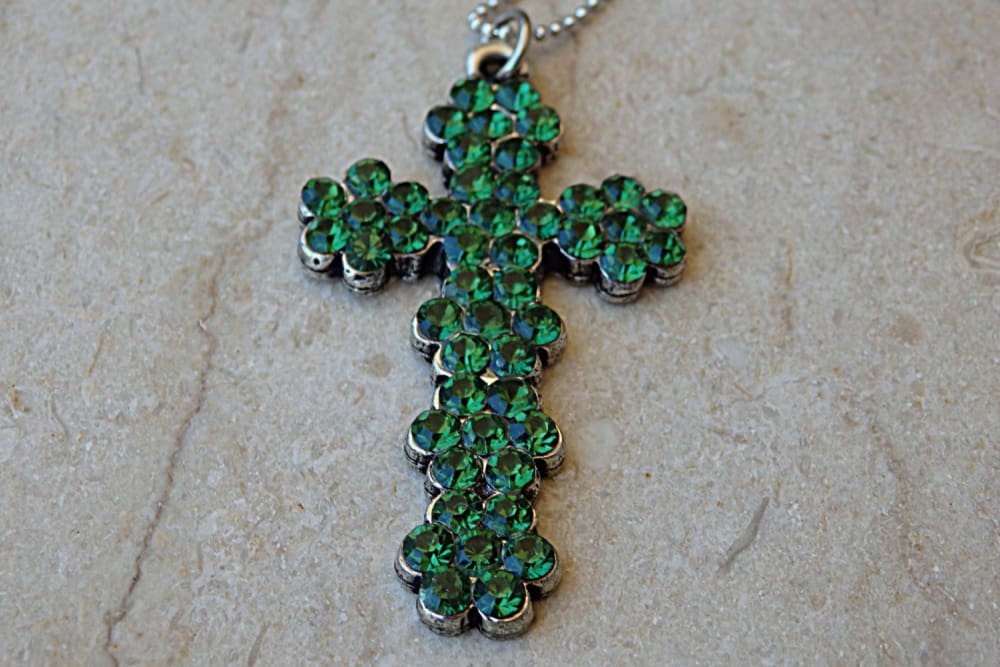 Cross Necklace. Cross Pendant. Green Swarovski Cross Necklace. Church Jewelry. Lord God Charm Pendant Necklace.rhinestone Cross Necklace