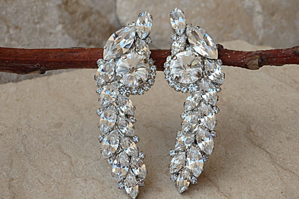 Crystals Cluster Earrings. Wedding Sparkly Earrings.. Bridal Clear Diamond Swarovski Earrings. Multi Stone Cluster Earrings. Stud Earrings