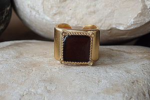 Dark Brown Adjustable Ring. Brown Square Signet Ring. Brown Enamel Ring. Womens Signet Ring. Gold Plated Enamel Ring. Gold Signet Ring.