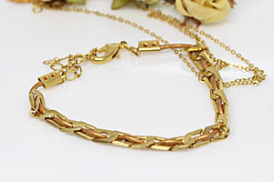Delicate Gold Leather Bracelet