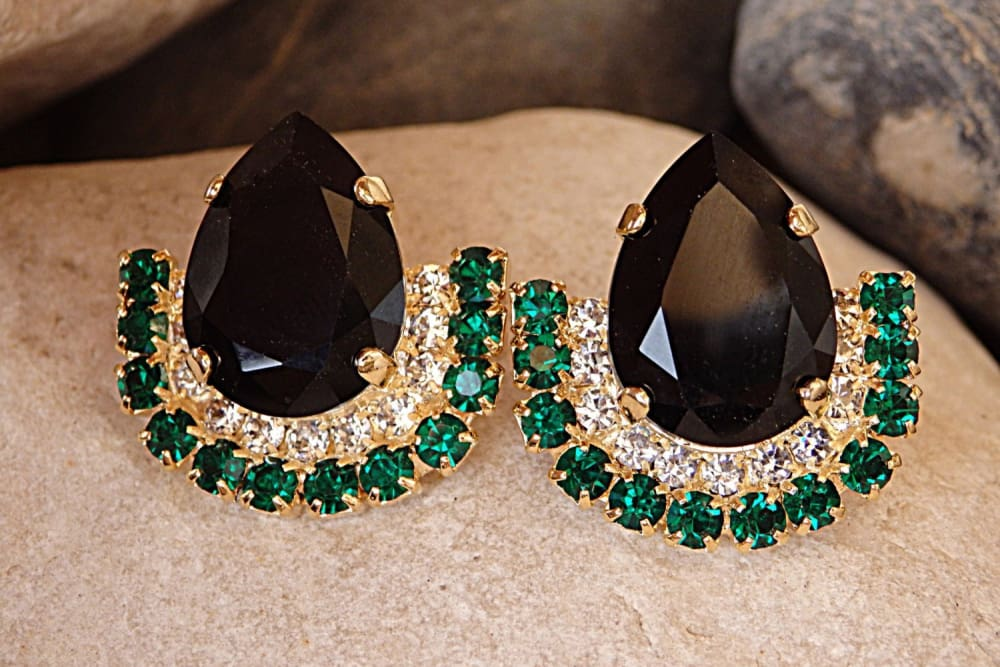 Emerald Black Crystal Earrings