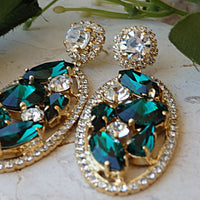 Emerald Crystal Earrings.swarovski Crystal Earrings.dark Green Earrings.emerald Weddings Jewelry. Prom Earrings.glamour Earrings. For Brides