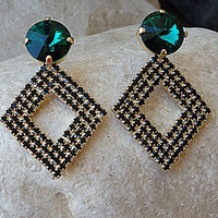 Emerald Stud Earrings. Green And Black Rhombus Earrings. Swarovski Crystal Earrings. Rhinestone Jewelry For Bride. Bridesmaid Gift . For Her