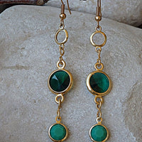 Emerald Swarovski Crystal Channels Earrings