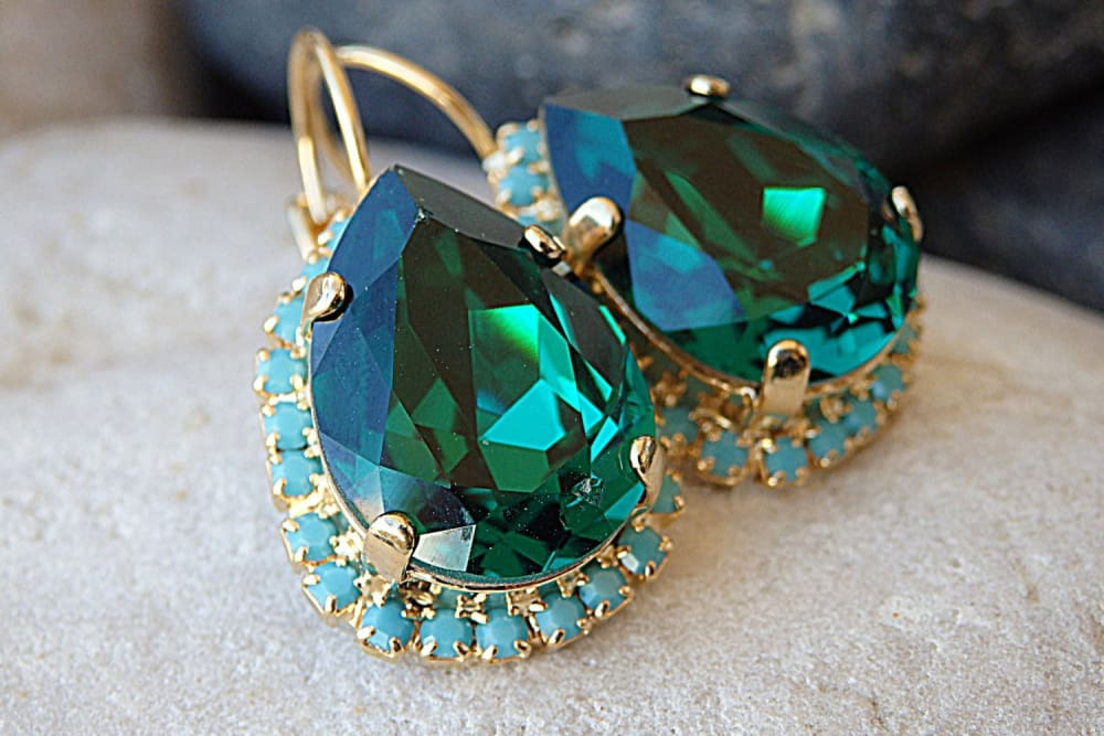 Emerald Turquoise Crystal Swarovski Earrings For Wife. Green Crystal Teardrop Drop Earrings.bridal Earrings