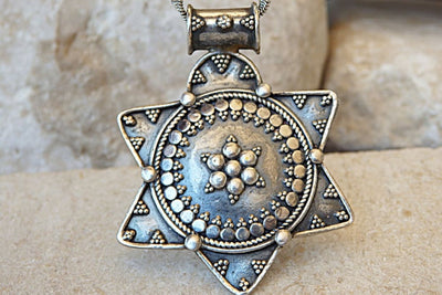 Ethnic Silver Sterling Star Of David Necklace. Filigree Jewish Magen David Pendant. Big Hand Made Star Charms Pendant.made In Israel Jewelry