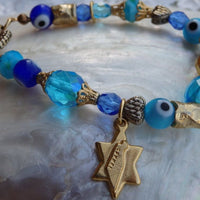 Evil Eye Bracelet. Evil Eye Jewelry. Star Of David Jewelry. Blue Eye Bracelet