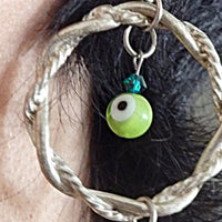 Evil Eye Green Agate Earrings