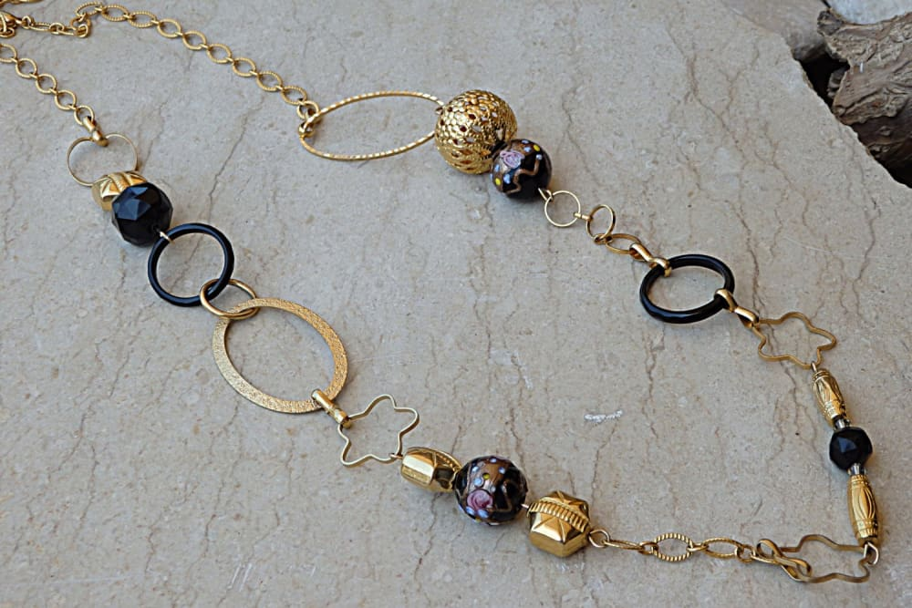 Fashion Long Necklace. Mixed Beads Necklace. Black Onyx Gemstone Necklace. Statement Necklace. Long Gold Necklace. Hoops Circle Necklace