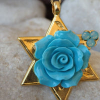 Flower Star Of David Gold Necklace