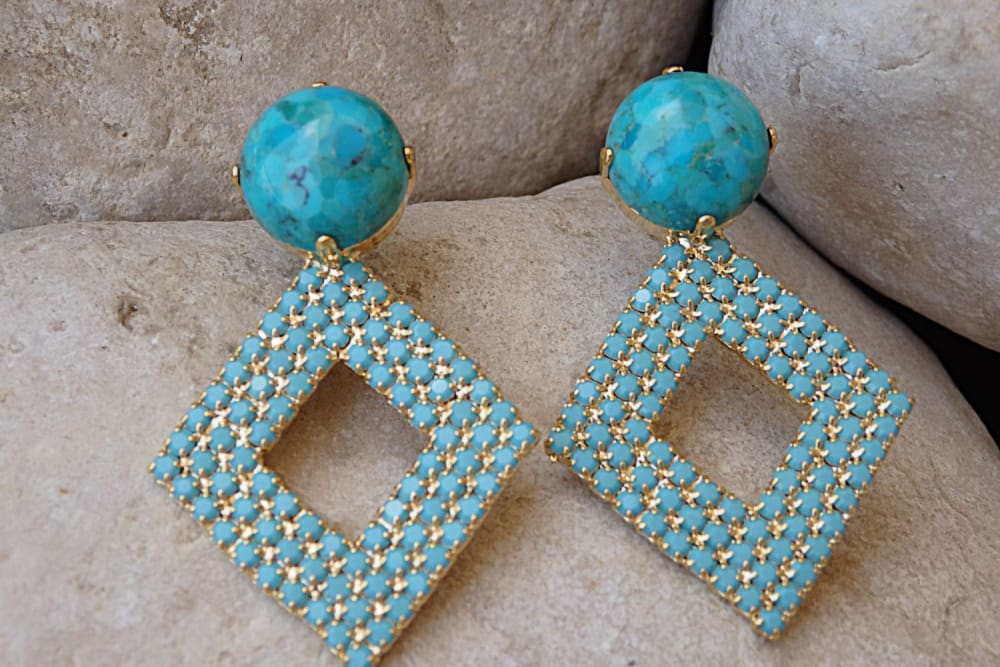 Genuine Turquoise Earrings . Blue Turquoise Swarovski Crystal Earrings. Gold Geometric Earrings. Stud Earrings. Turquoise Rhombus Earrings