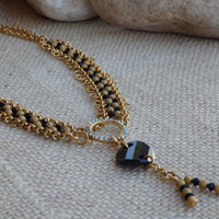 Gold Beaded Y Necklace