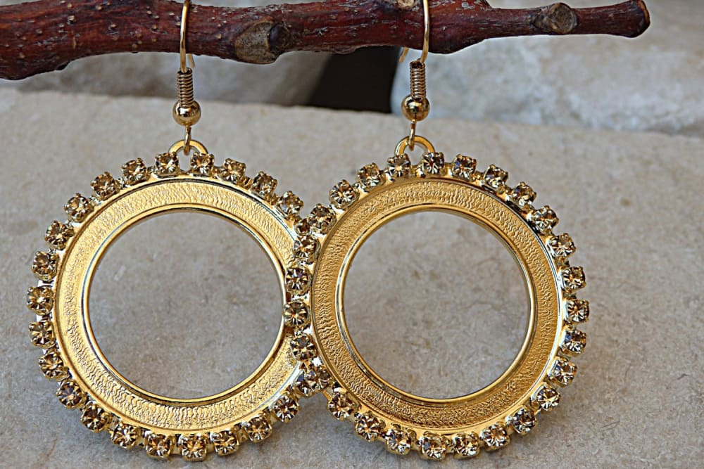 Gold Champagne Swarovski Circle Earrings