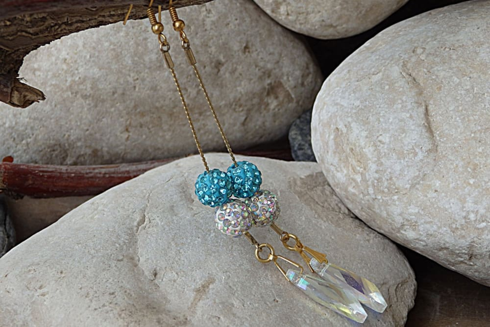 Gold Filled Earrings. Dainty Swarovski Earrings. Delicate Turquoise Earrings. Long Gold Earrings. Ball Gold Teardrop Crystal Ab Earrings.